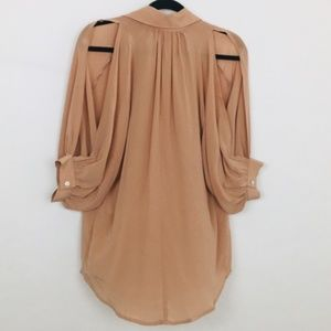Olivaceous SILK Tan Open 3/4 Sleeve Button Front S
